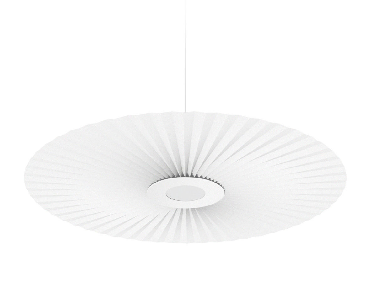Luminaire - Suspensions - Suspension Carmen Large / LED - Ø 128 cm - Tissu plissé - Hartô - Blanc - Métal laqué, Tissu plissé