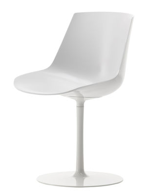 Furniture - Chairs - Flow Swivel chair - Plastic seat & metal legs by MDF Italia - White shell / White frame - Lacquered aluminium, Polycarbonate