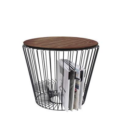 Table d'appoint Ernest / Porte-revues - Ø 50 x H 40 cm - Hartô noir,noyer en métal