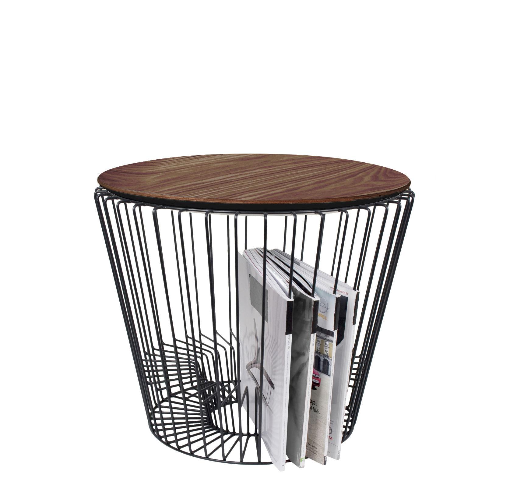 Mobilier - Tables basses - Table d'appoint Ernest / Porte-revues - Ø 50 x H 40 cm - Hartô - Noir & noyer - Contreplaqué, Métal laqué
