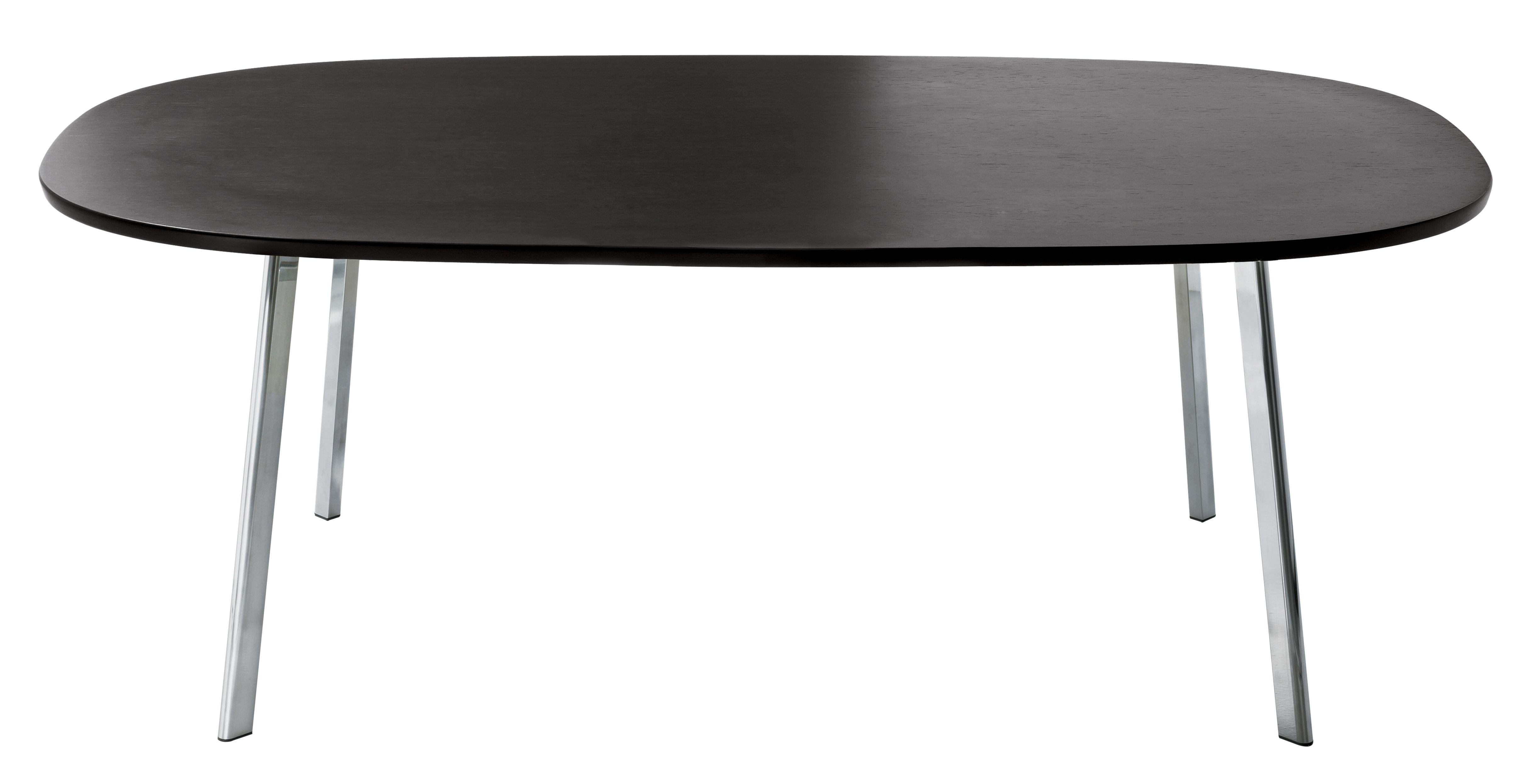 Mobilier - Tables - Table rectangulaire Déjà-vu / 200 x 120 cm - Magis - Plateau wengé / Pieds chromés - Aluminium poli, MDF plaqué chêne teinté