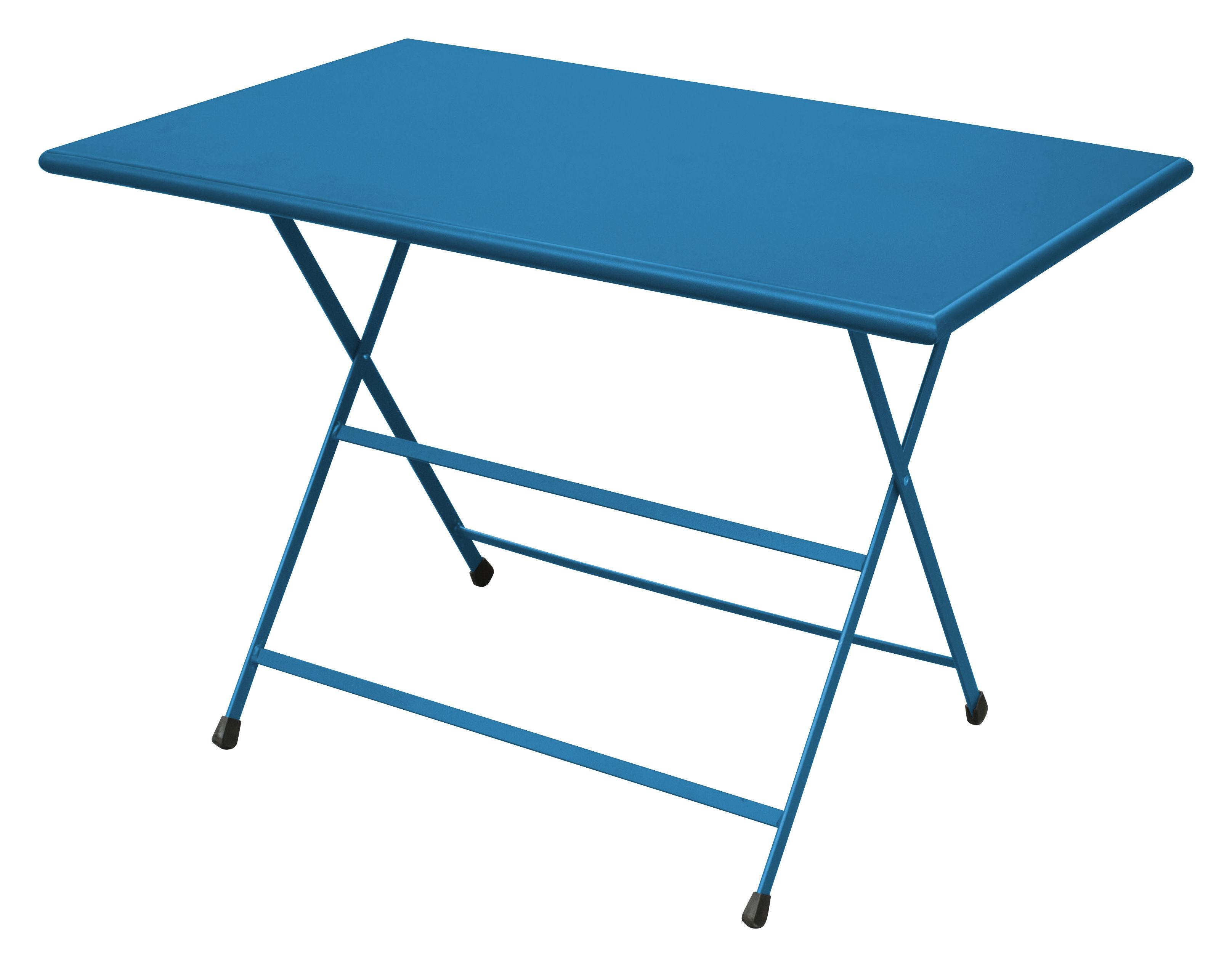Outdoor - Tavoli  - Tavolo pieghevole Arc en Ciel - 110 x 70 cm - Pieghevole di Emu - Azzurro - Acciaio inossidabile verniciato
