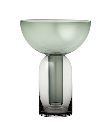 Decoration - Vases - Torus Small Vase - / Ø 15 x H 19.5 cm by AYTM - Black / Forest green - Glass