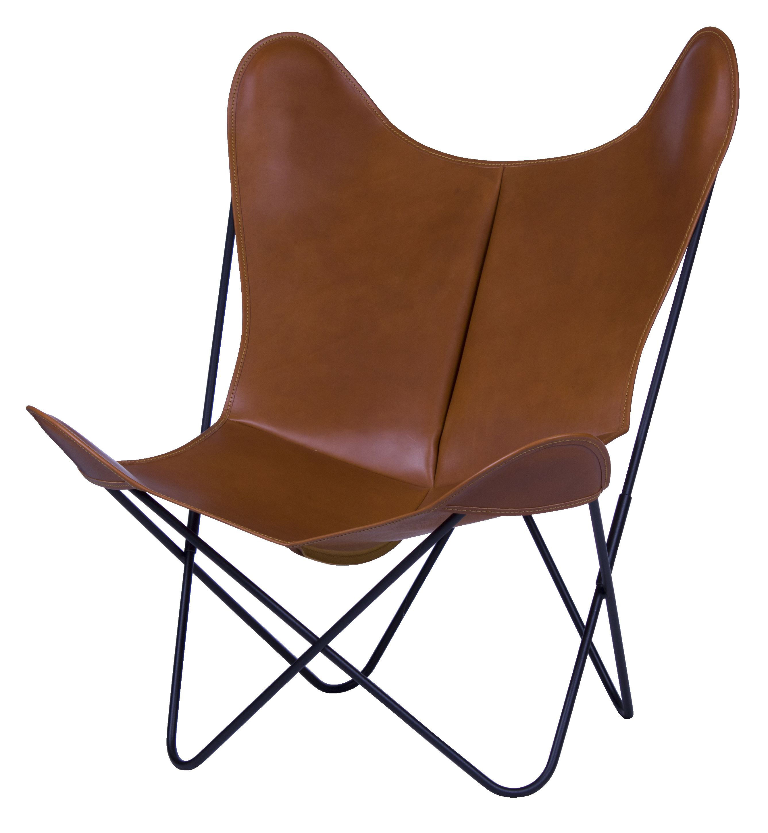 Furniture - Armchairs - AA Butterfly Armchair - Leather / Black structure by AA-New Design - Black frame / Brown leather - Lacquered steel, Leather