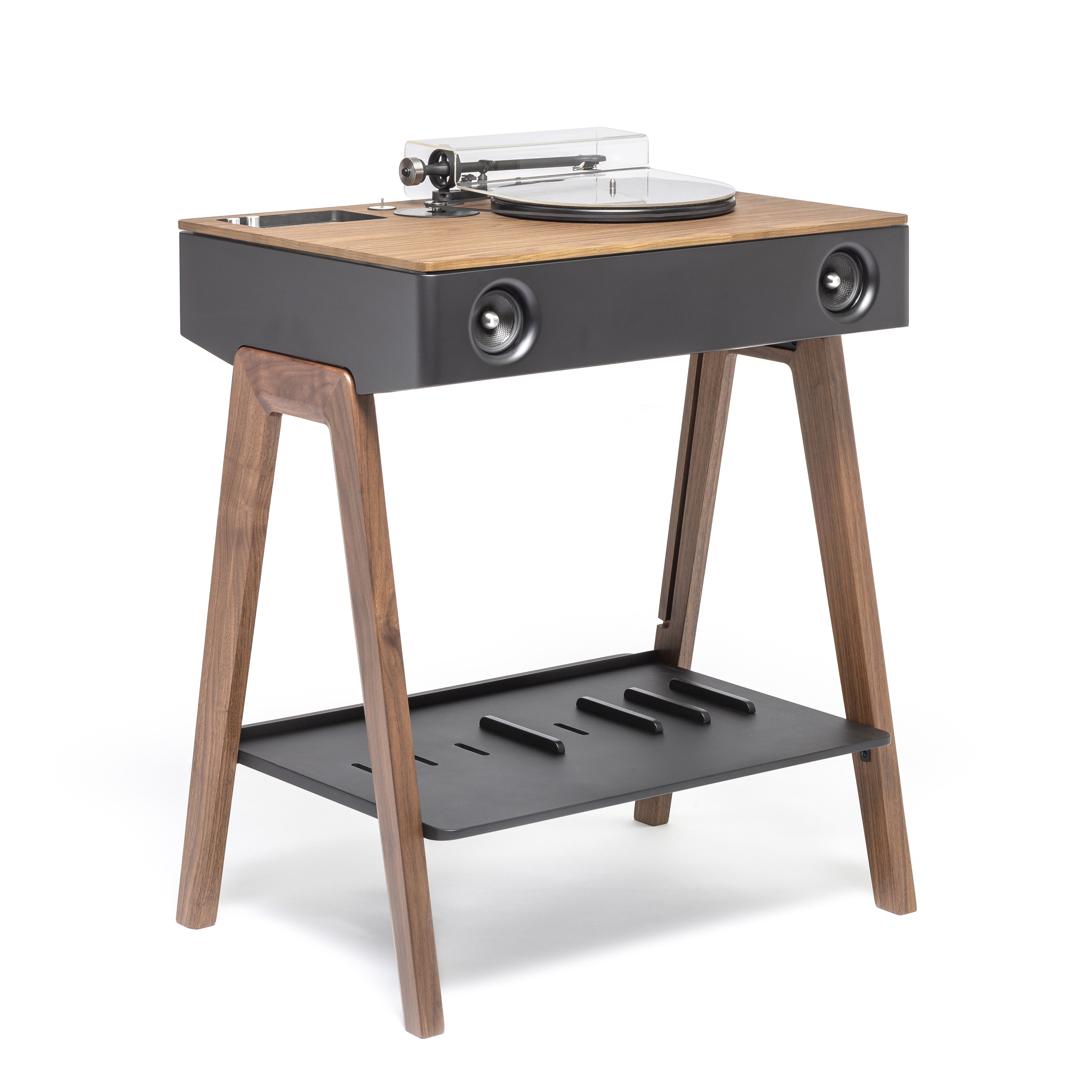 Accessories - Speakers & Audio - LX Platine Bluetooth speaker - / All-in-one active high-fidelity speaker with built-in turntable by La Boîte Concept - Walnut, black & silver - Aluminium, Plywood, Walnut