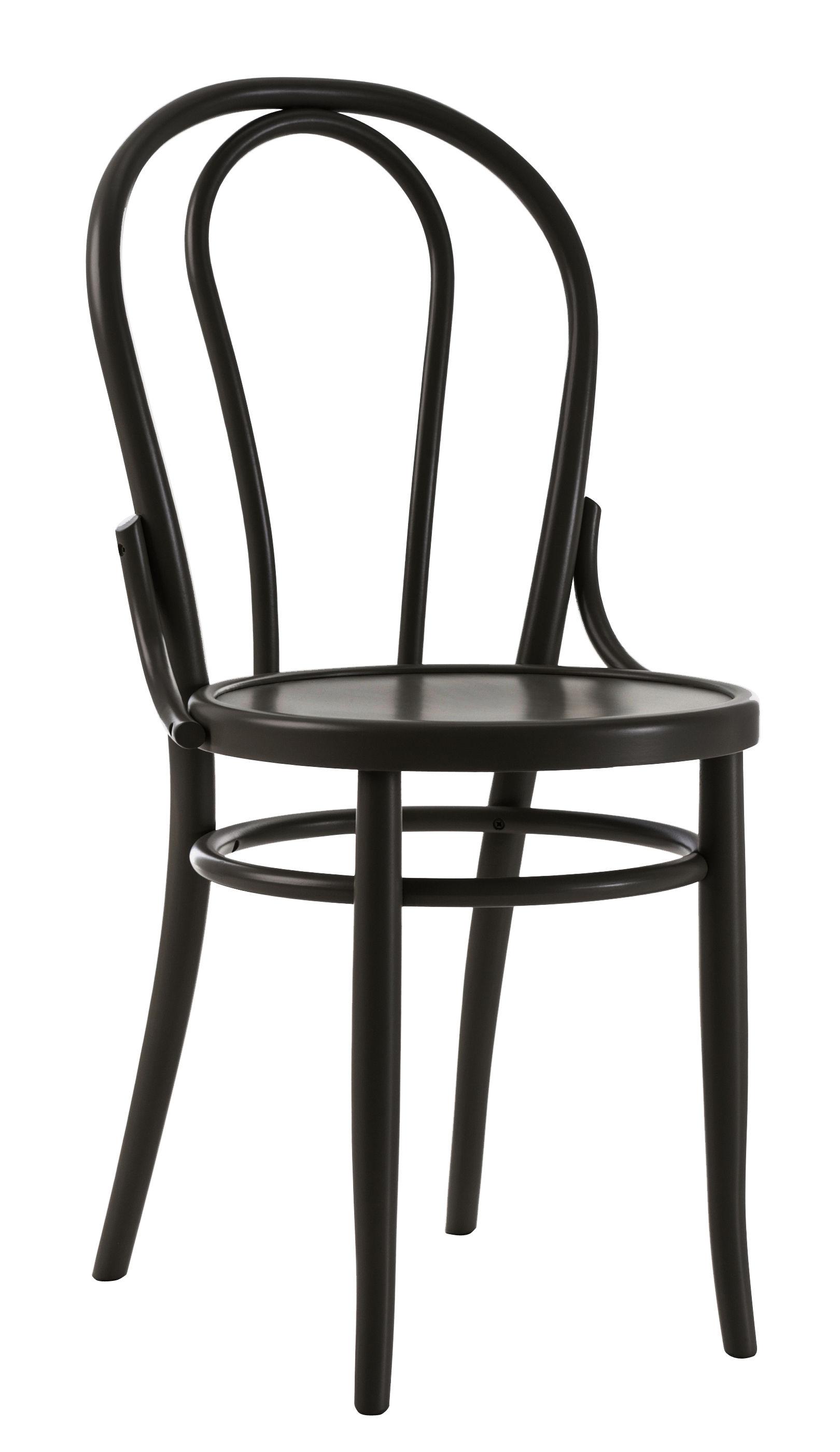 Furniture - Chairs - N° 18 Chair - / 1876 reissue by Wiener GTV Design - Black - Beechwood plywood, Curved solid beechwood
