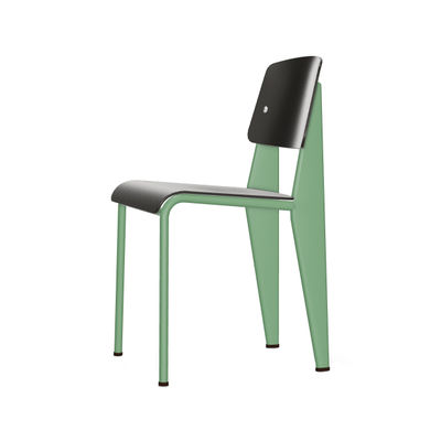 Furniture - Chairs - Standard SP Chair - / By Jean Prouvé, 1934 - Metal & plastic by Vitra - Black / Mint green base - Epoxy lacquered steel, Plastic material