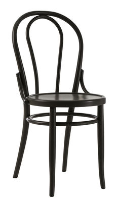 Mobilier - Chaises, fauteuils de salle à manger - Chaise N° 18 / Réédition 1876 - Wiener GTV Design - Noir - Contreplaqué de hêtre, Hêtre massif cintré