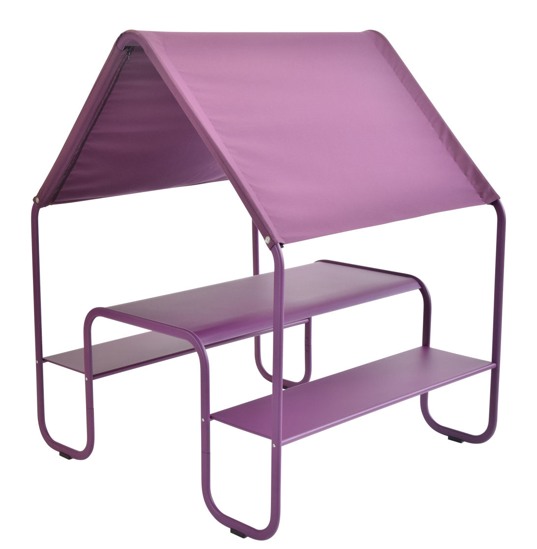 Furniture - Kids Furniture - Picnic Children table - Metal & fabric by Fermob - Plum - Acrylic cloth, Painted steel