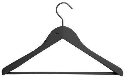 Déco - Portemanteaux et patères - Cintre Soft Coat Large / Con barra - Set da 4 - Hay - Noir - Bois, Caoutchouc