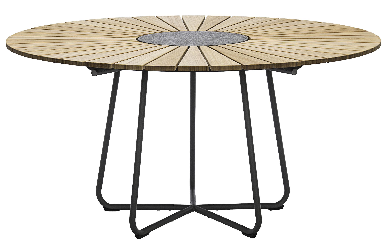 Outdoor - Tavoli  - Tavolo da giardino Circle /  Ø 150 cm - bambù & granito - Houe - Bambù / Base grigio - Bambù, Granito, Metallo rivestito in resina epossidica