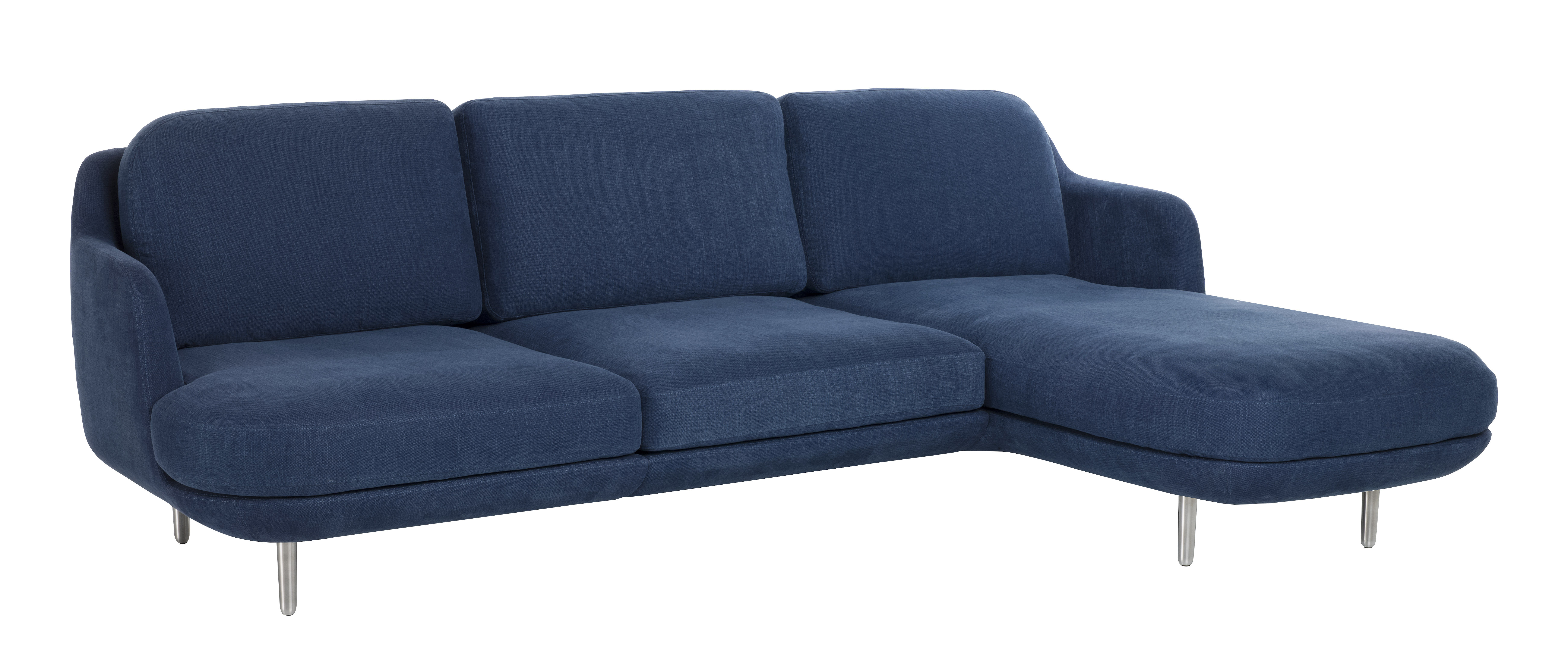 Furniture - Sofas - Lune Corner sofa by Fritz Hansen - Indigo blue / Brushed alu - Brushed aluminium, Cotton