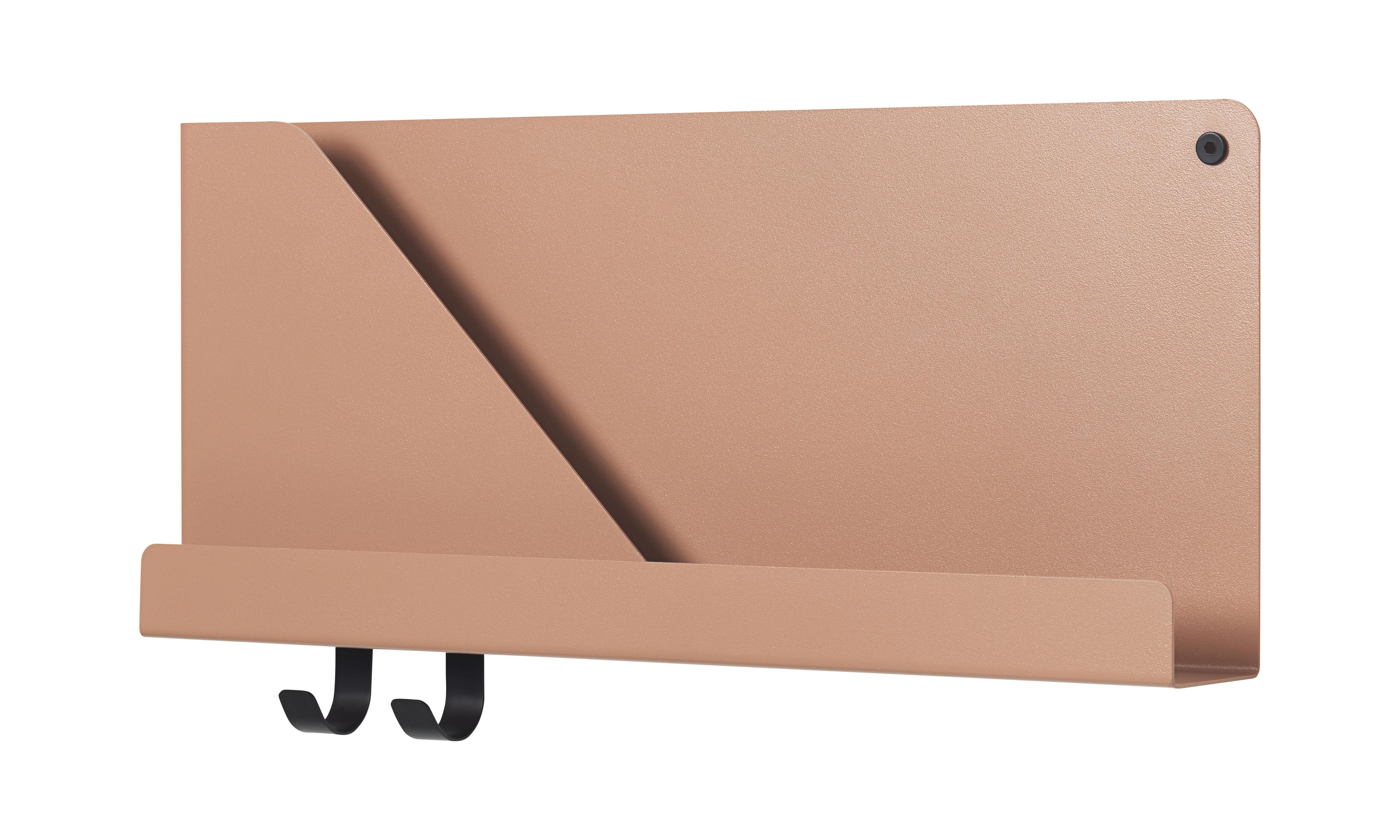 Mobilier - Etagères & bibliothèques - Etagère Folded Small / L 50 cm - Métal - 2 crochets + compartiment - Muuto - Terracotta clair - Acier laqué