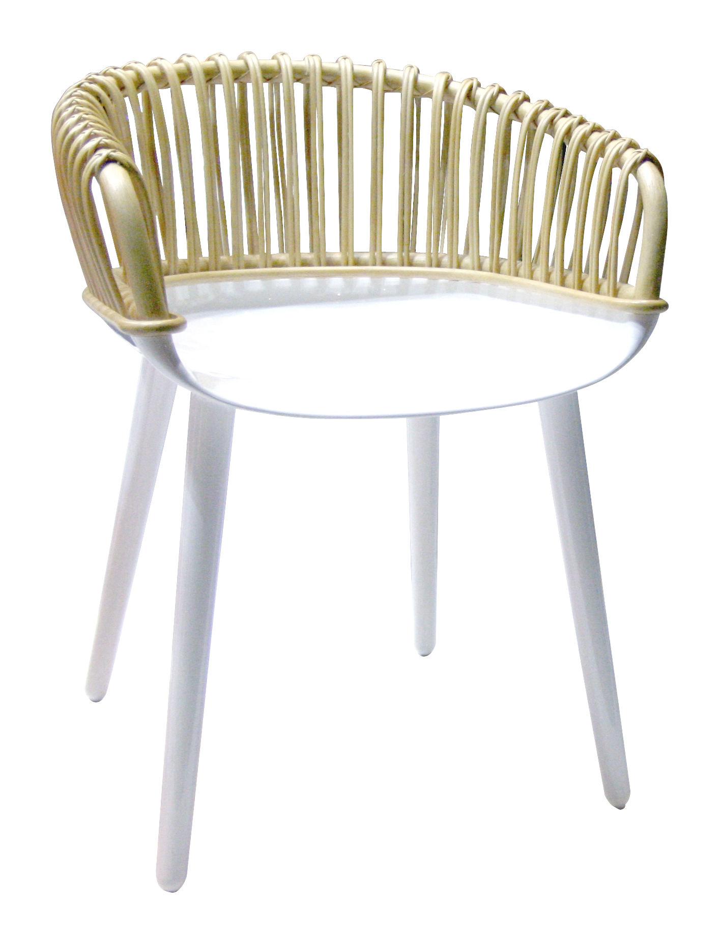 Mobilier - Chaises, fauteuils de salle à manger - Fauteuil Cyborg / Polycarbonate & dossier osier - Magis - Dossier osier naturel / Piètement et assise blanc brillant - Osier, Polycarbonate
