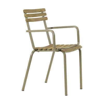 Mobilier - Chaises, fauteuils de salle à manger - Fauteuil empilable Laren / Teck patiné - Ethimo - Teck décapé / Gris Boue - Acier thermolaqué, Teck décapé FSC