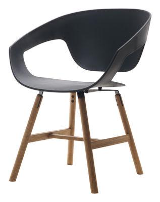 Chaise Vad wood / Plastique & pieds bois - Casamania noir en matière plastique