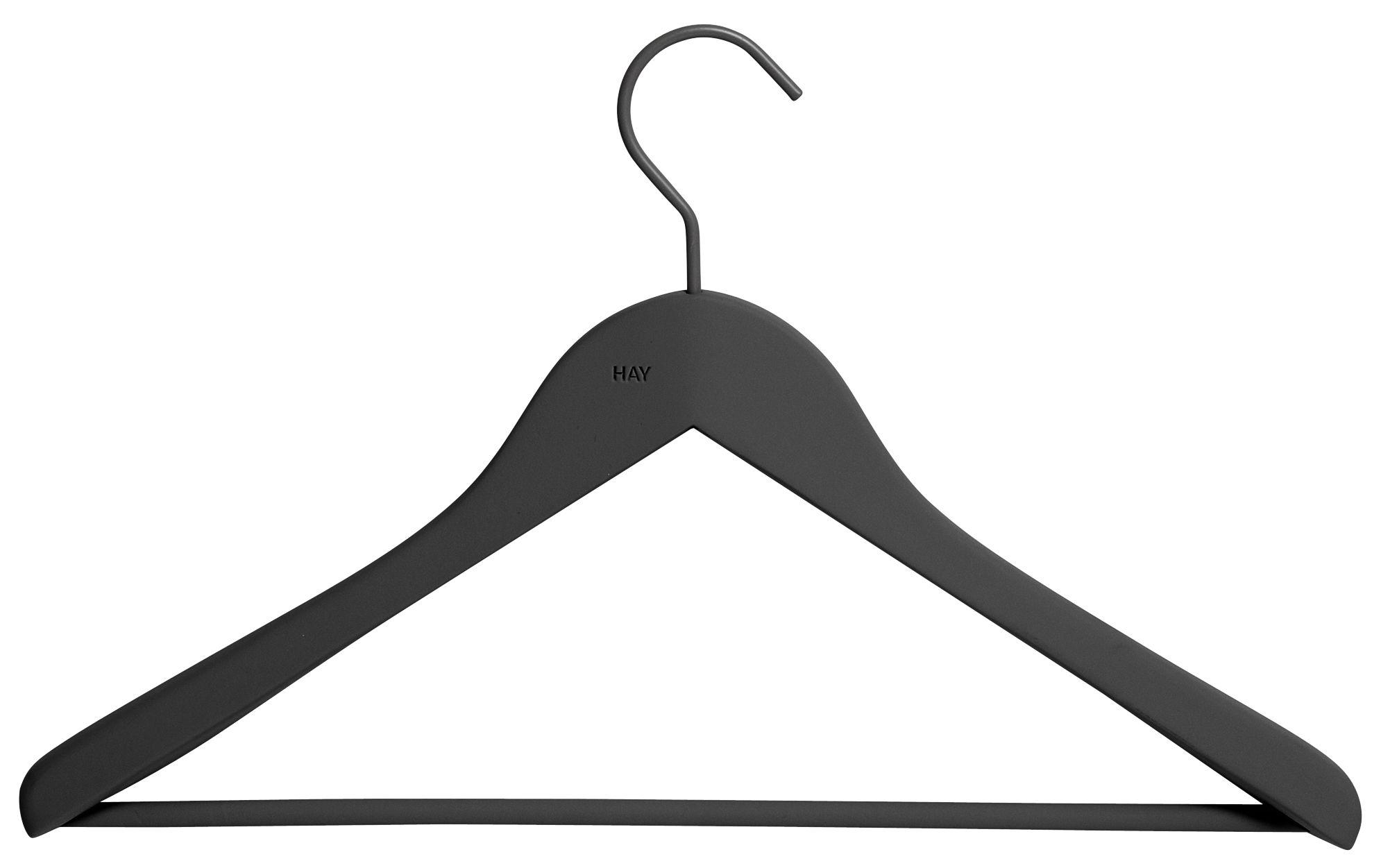Decoration - Coat Stands & Hooks - Soft Coat Large Hanger - Set of 4 by Hay - Black - Rubber, Wood