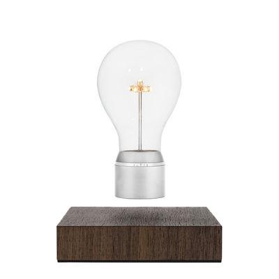 Image of Lampada da tavolo Flyte Manhattan - / Lampadina in levitazione di Flyte - Argento/Legno naturale/Metallo - Legno
