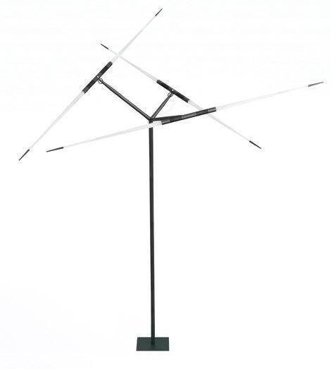 Luminaire - Lampadaires - Lampadaire Javelot LED / H 222 x Ø 150 cm - Luceplan - Noir / Blanc satiné - Aluminium peint