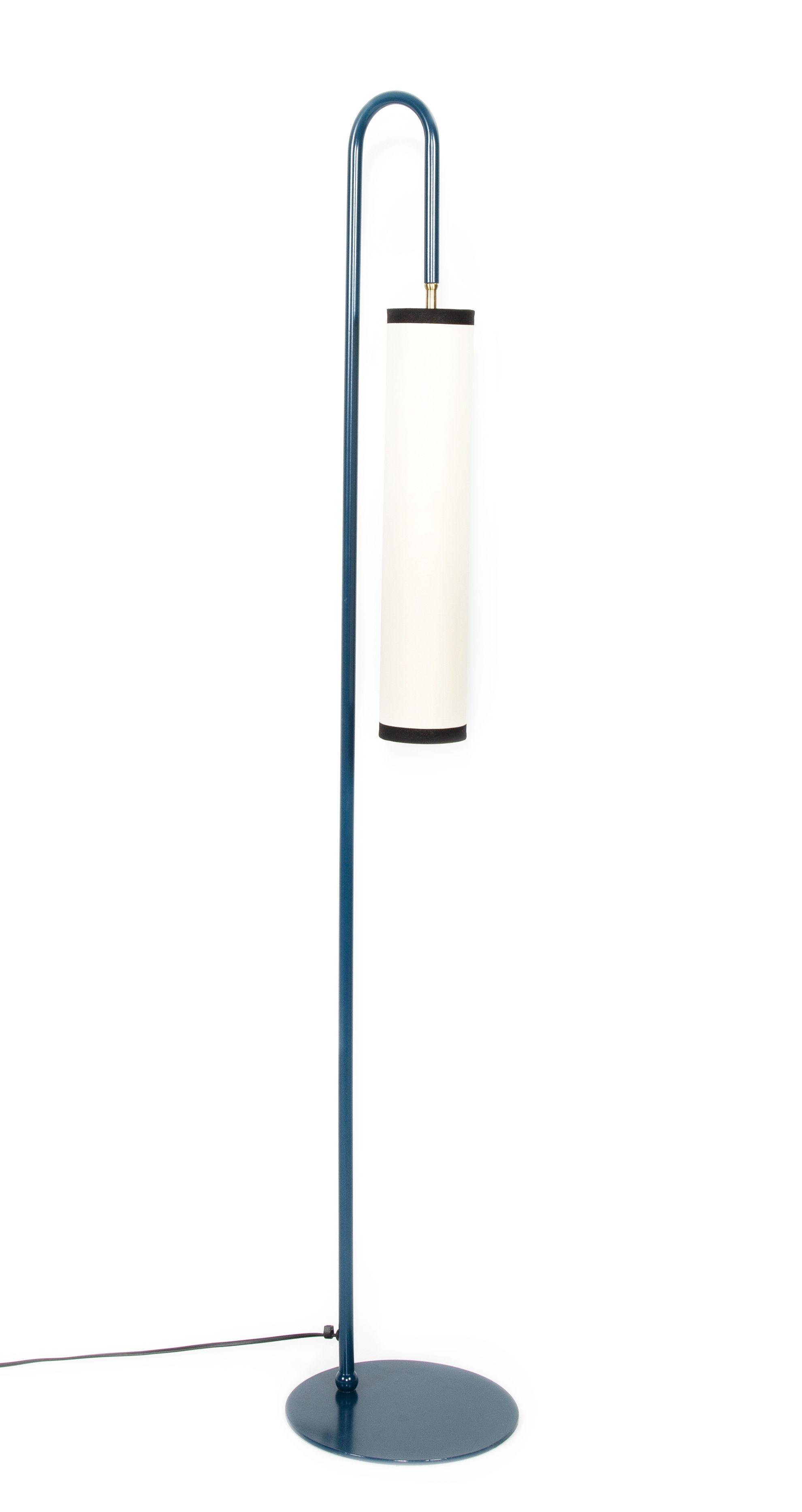 Luminaire - Lampadaires - Lampadaire Tokyo / H 140 cm - Métal & tissu - Maison Sarah Lavoine - Bleu / Blanc - Acier thermo-laqué, Coton