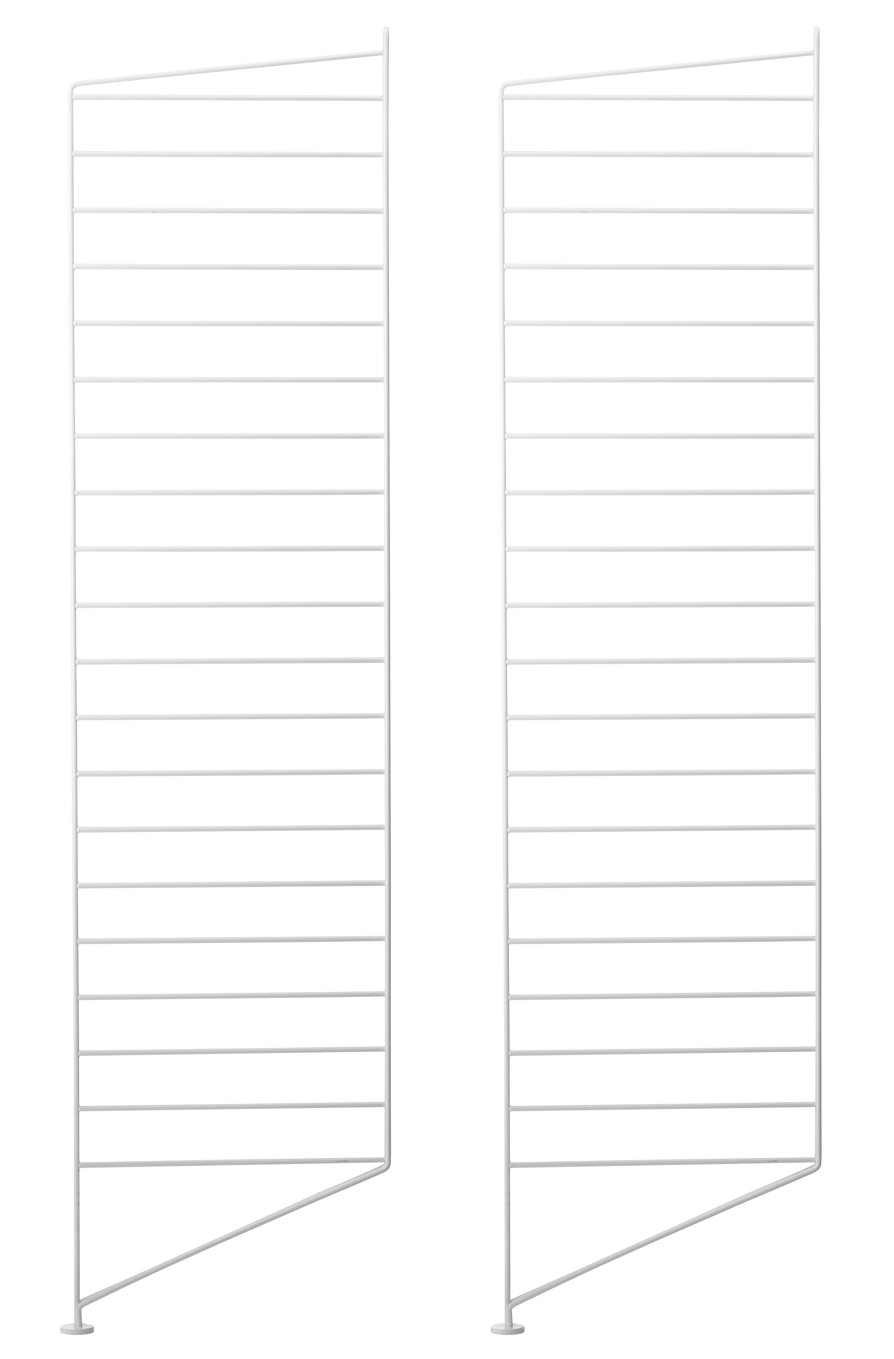 Mobilier - Etagères & bibliothèques - Montant de sol String Works / H 115 x P 30 cm - Set de 2 - String Furniture - Blanc - Acier laqué