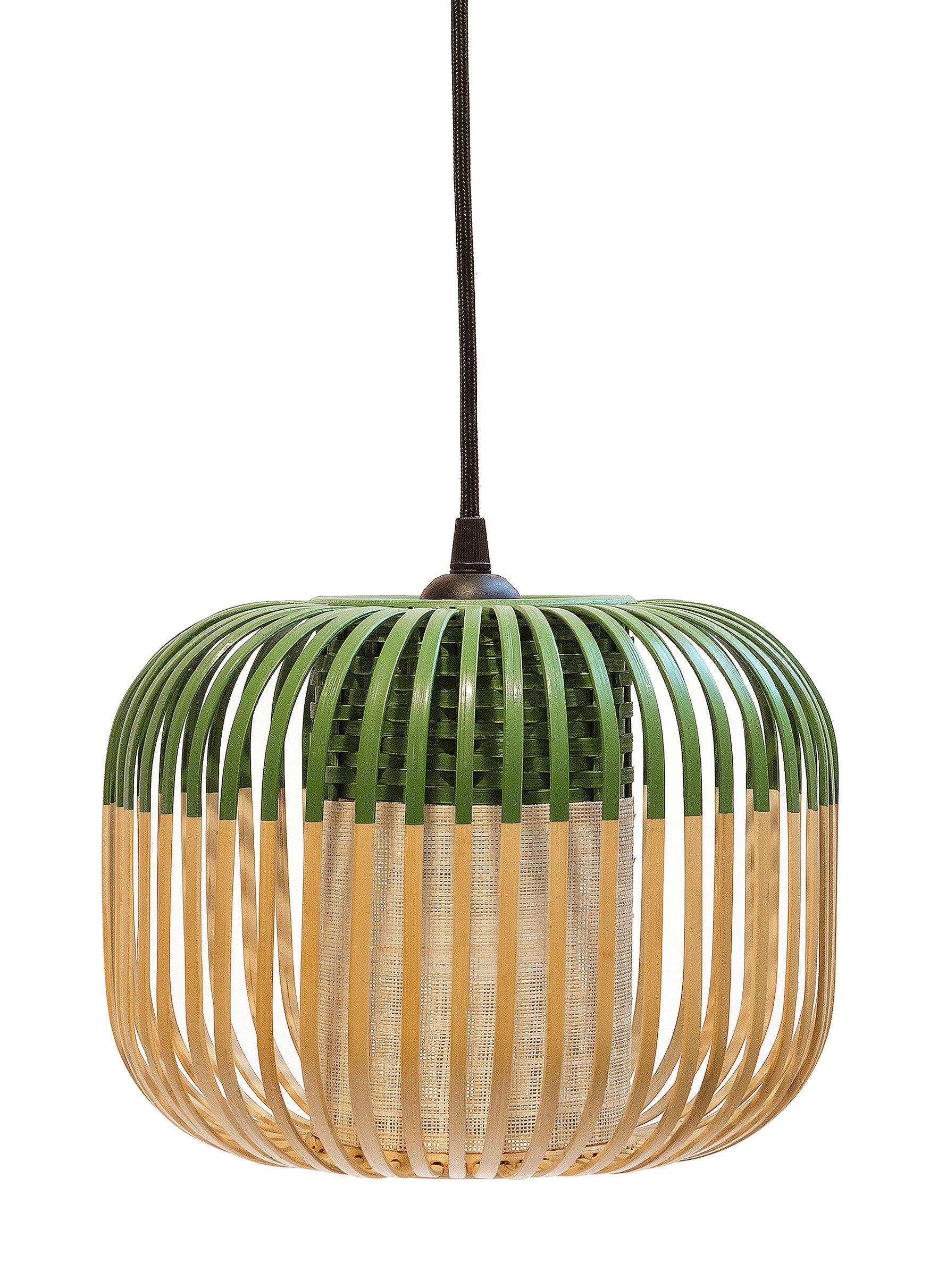 Lighting - Pendant Lighting - Bamboo Light XS Pendant - H 20 x Ø 27 cm by Forestier - Green / Natural - Fabric, Metal, Natural bamboo