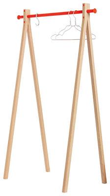 Mobilier - Portemanteaux, patères & portants - Portant Dress-up / L 90 cm - Nomess - Bois naturel / Barre orange - Aluminium, Hêtre