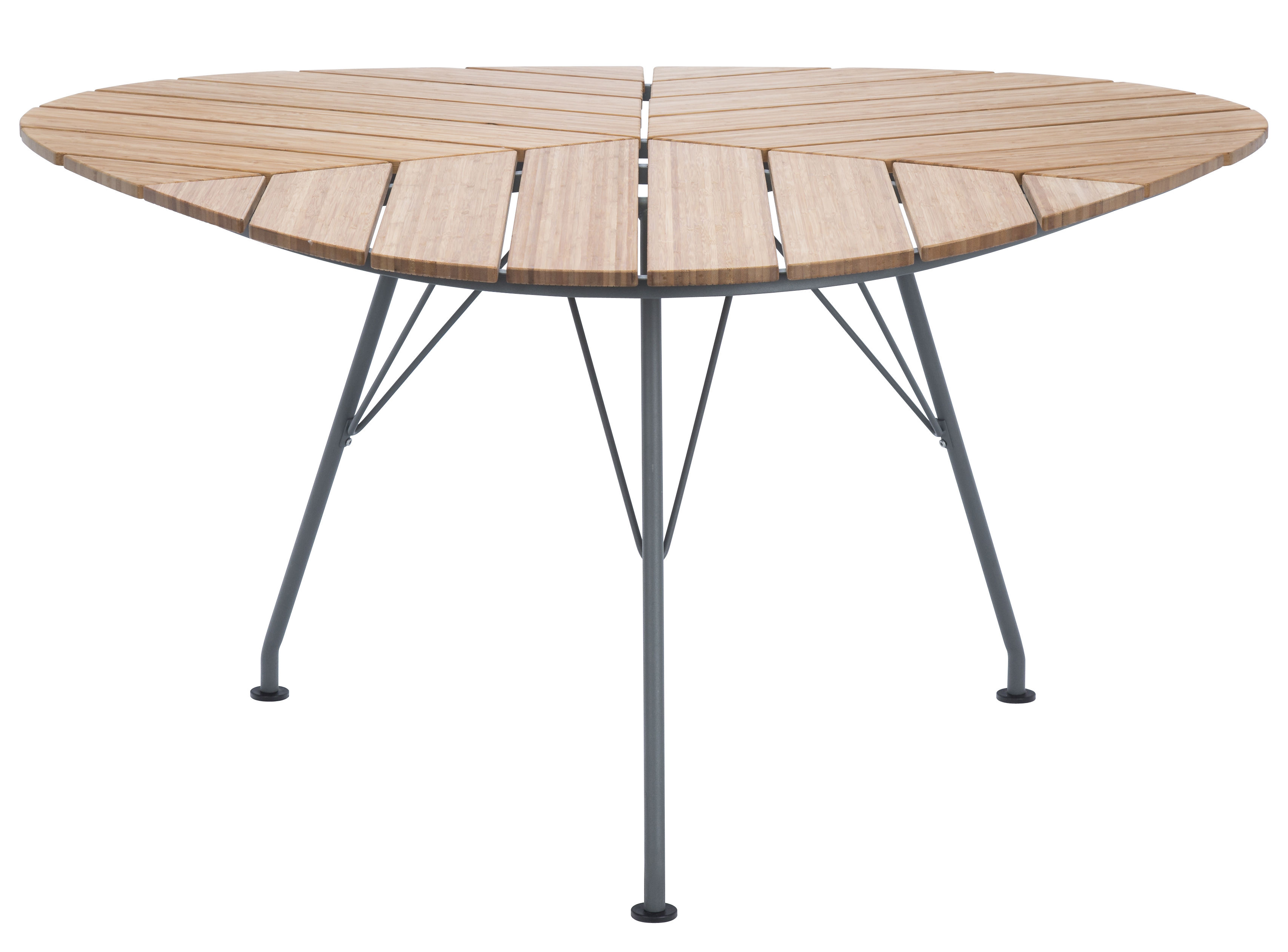 Outdoor - Garden Tables - Leaf Round table - Triangular - 146 x 146 x 146 cm by Houe - Bamboo / Grey feet - Bamboo, Epoxy lacquered metal