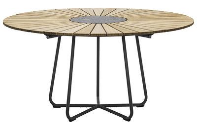 Outdoor - Tische - Circle Runder Tisch / Ø 150 cm - Bambus & Granit - Houe - Bambus / Tischgestell grau - Bambus, epoxy-beschichtetes Metall, Granit