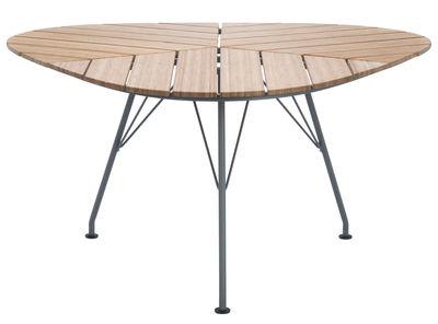 Outdoor - Tische - Leaf Runder Tisch / Bambus - dreieckig - 146 x 146 x 146 cm - Houe - Bambus / Tischgestell grau - Bambus, epoxy-beschichtetes Metall