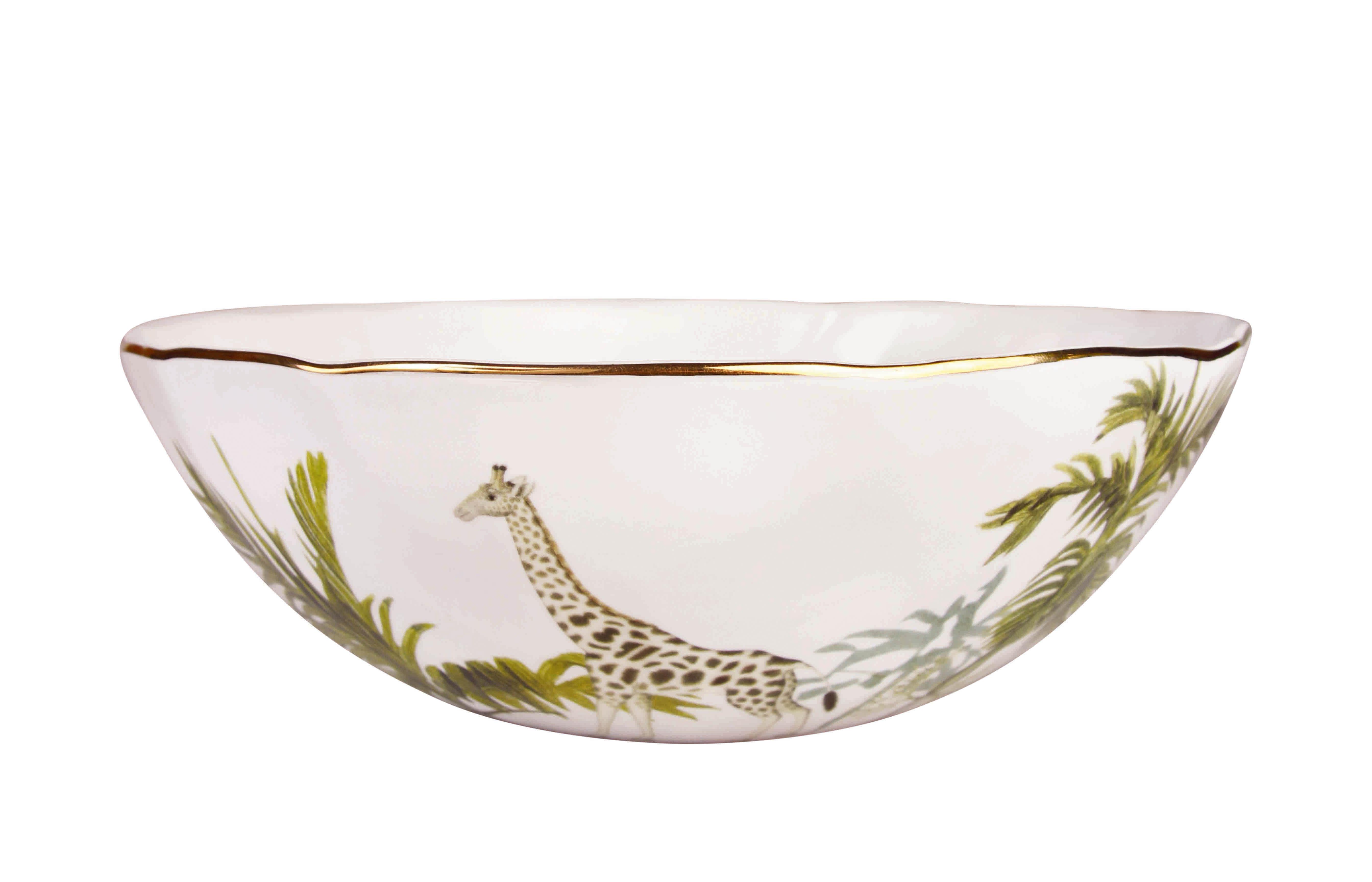 Tableware - Bowls - Jungle Salad bowl - / Porcelain by & klevering - Jungle / Multicoloured - Porcelaine fine