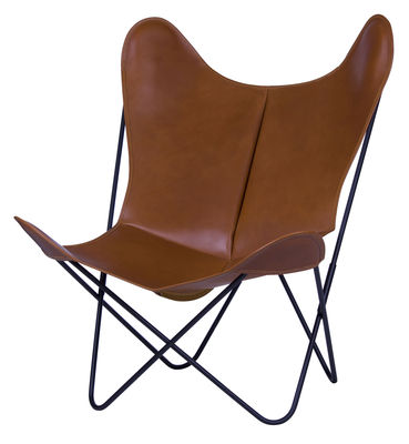aktion - Moderne Natur - AA Butterfly Sessel Leder / Gestell schwarz - AA-New Design - Gestell schwarz / Leder natur - lackierter Stahl, Leder