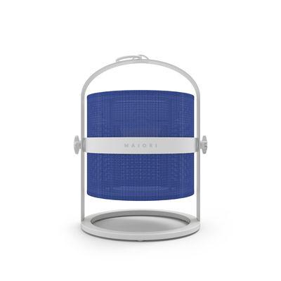 Leuchten - Tischleuchten - La Lampe Petite LED Solarlampe / kabellos - Gestell weiß - Maiori - Marineblau / Gestell weiß - Aluminium, Tissu technique