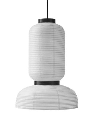 Illuminazione - Lampadari - Sospensione Formakami JH3 / Ø 45 x H 65 cm - And Tradition - Bianco avorio / Nero - Carta di riso, Rovere, Tessuto