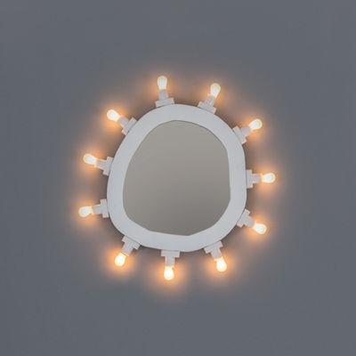 Illuminazione - Lampade da parete - Specchio luminoso Luminaire Small - / 30 x 32 cm - Lampadine incluse di Seletti - Small / Bianco - MDF tinto, Vetro