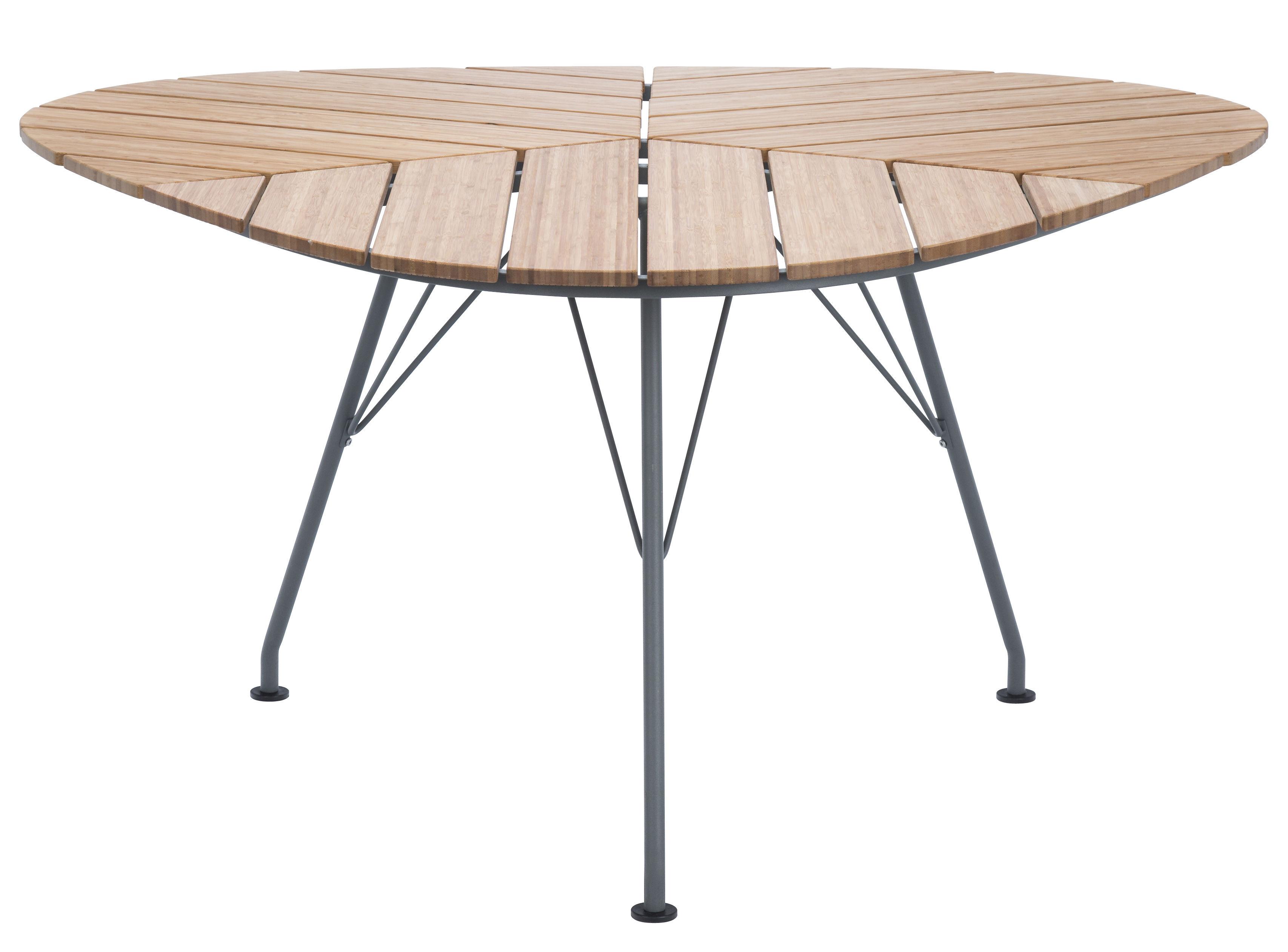 Jardin - Tables de jardin - Table de jardin Leaf / Bambou - Triangulaire - 146 x 146 x 146 cm - Houe - Bambou / Piètement gris - Bambou, Métal laqué époxy