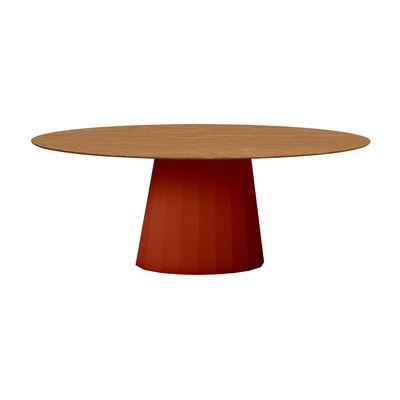 Table ovale Ankara INDOOR / 200 x 100 cm - Chêne - Matière Grise rouge/orange/marron/bois naturel en métal/bois