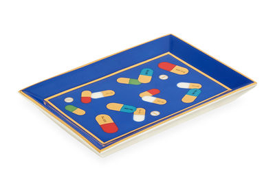 Decoration - Centrepieces & Centrepiece Bowls - Full Dose Rectangle Tray - / Trinket bowl  - 16-carat gold by Jonathan Adler - Full Dose / Blue - China