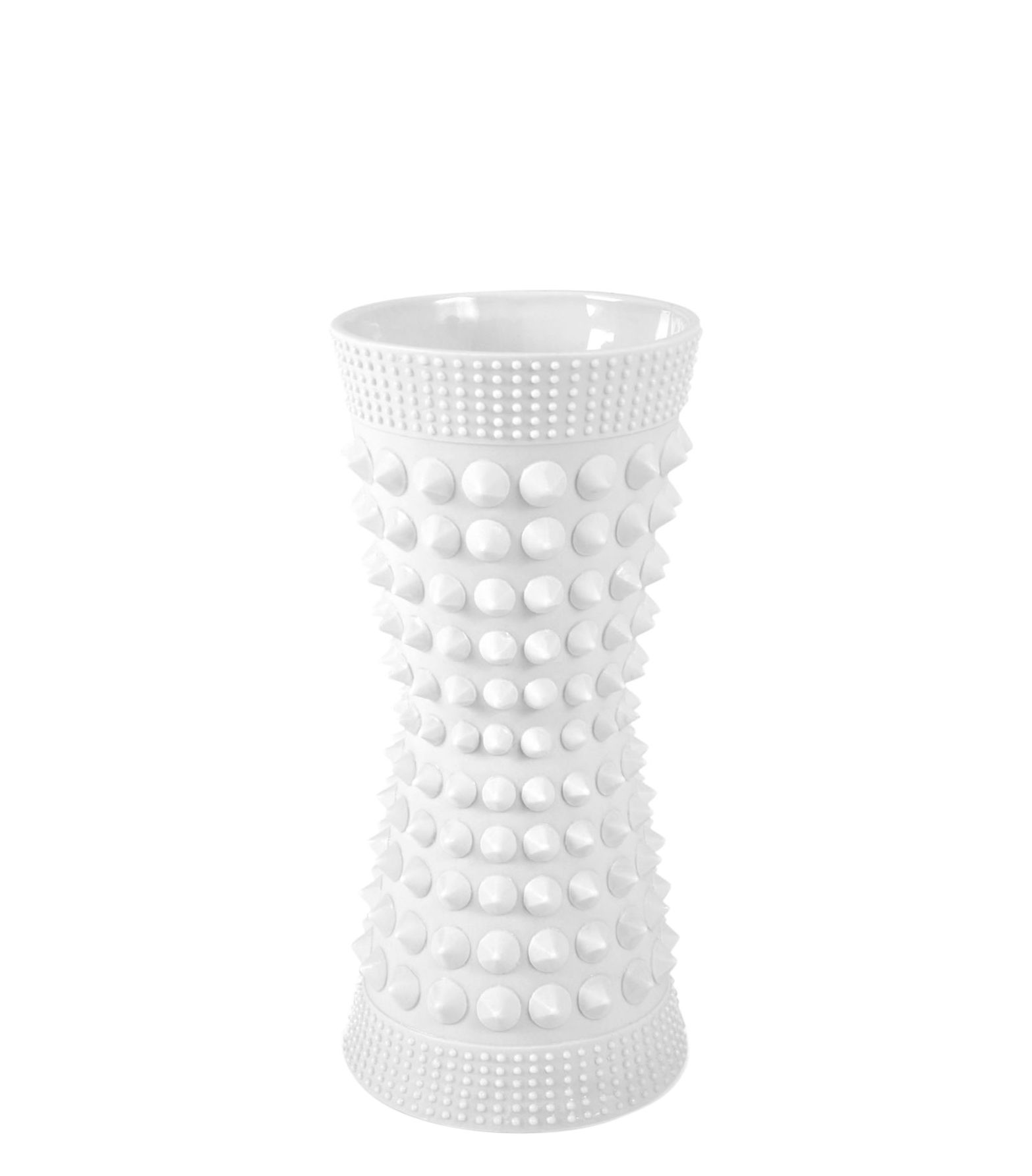 Decoration - Vases - Charade Studded Vase - Porcelain - H 9 cm by Jonathan Adler - Matt white - Matt white porcelain