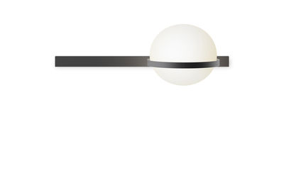 Lighting - Wall Lights - Palma Wall light - / Horizontale by Vibia - Laqué graphite mat - Aluminium, Opalin mouth blown glass