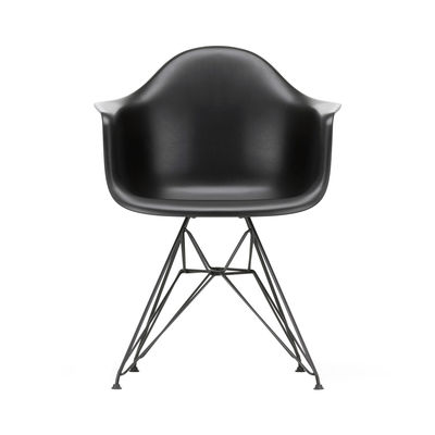 Furniture - Chairs - DAR - Eames Plastic Armchair Armchair - / (1950) - Black legs by Vitra - Black / Black legs - Epoxy lacquered steel, Polypropylene
