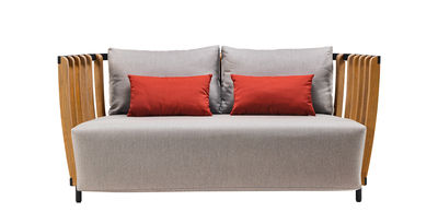 Canapé droit Swing L 166 cm Ethimo gris,noir,teck naturel en tissu