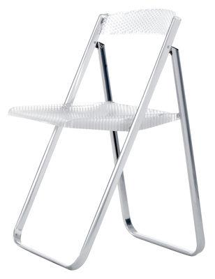 Chaise pliante Honeycomb Transparente Polycarbonate métal Kartell cristal en matière plastique