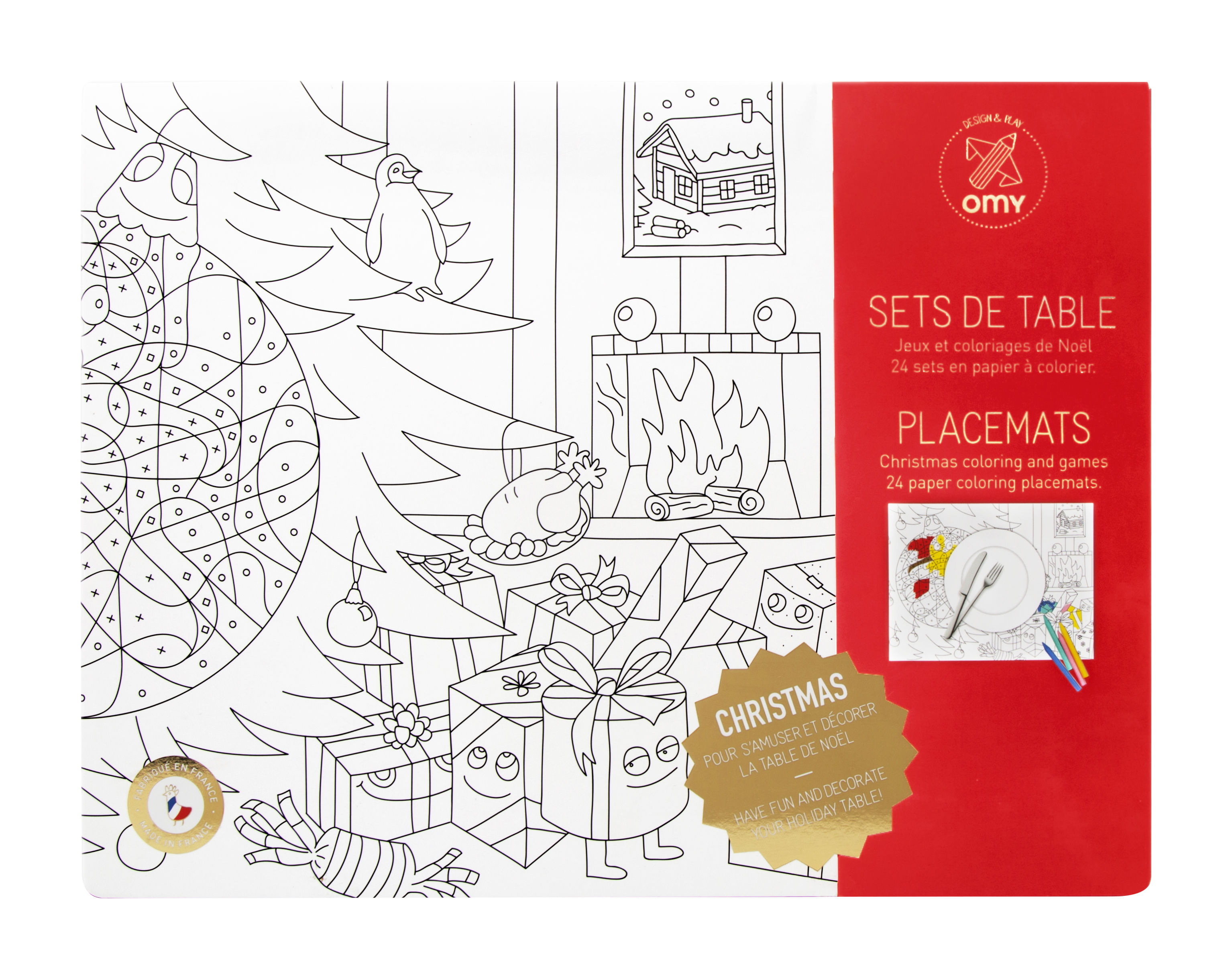Decoration - Children's Home Accessories - Christmas Colouring table mat - Set of 24 by OMY Design & Play - Noël - Papier recyclé
