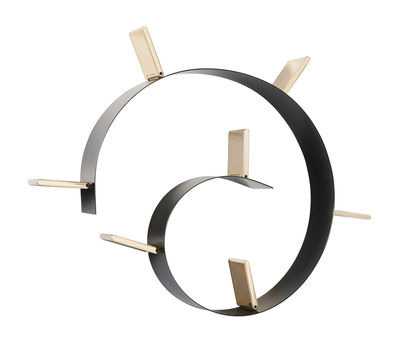 Mobilier - Etagères & bibliothèques - Etagère Popworm / L 320 cm - Kartell - Noir & or - PVC coloré dans la masse et ignifugé