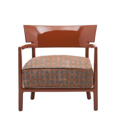 Mobilier - Chaises, fauteuils de salle à manger - Fauteuil rembourré Cara Fancy / Tissu - Kartell - Rouge orangé / Tissu rouge orangé & beige - Polycarbonate, Polyuréthane, Tissu