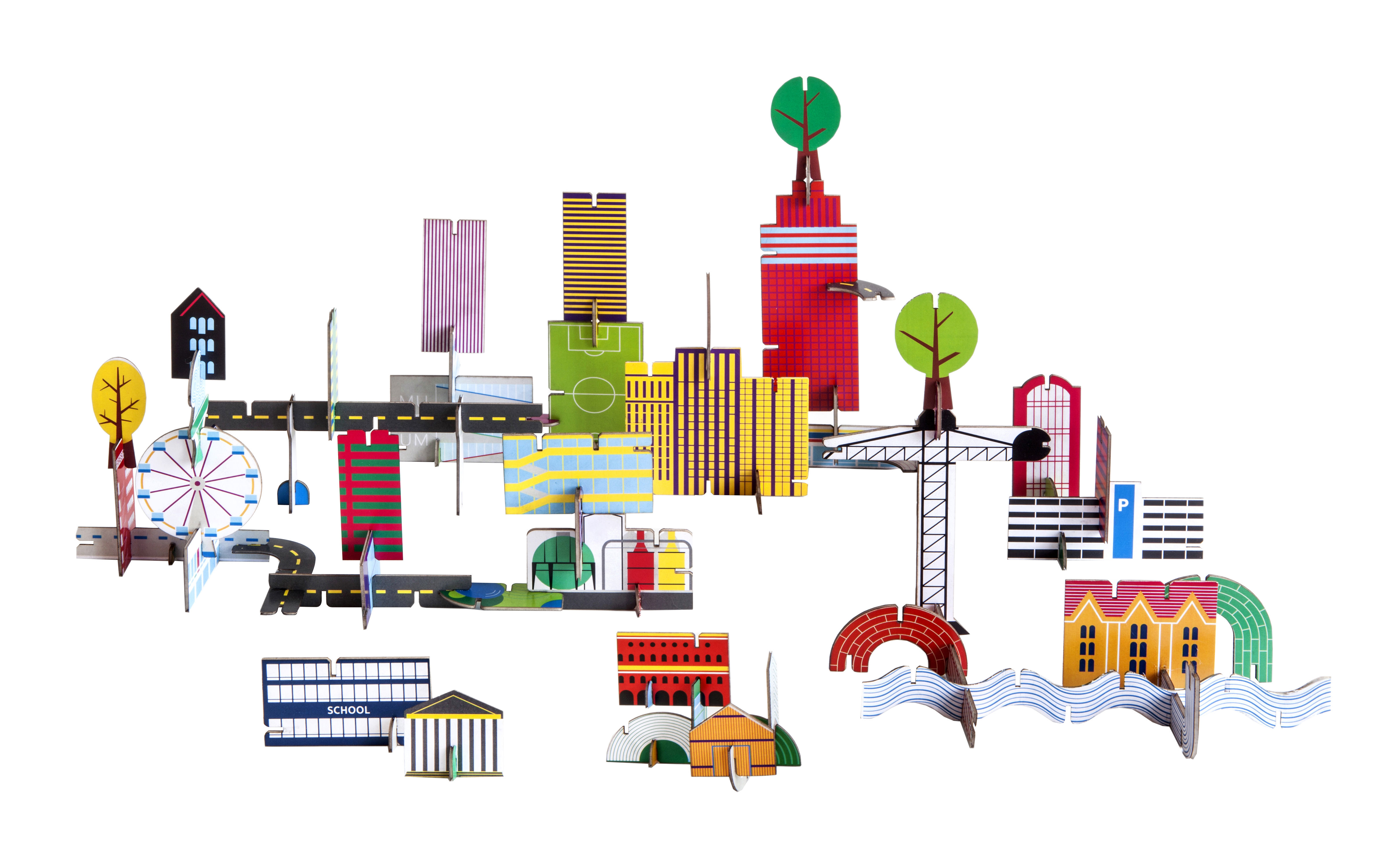 Decoration - Children's Home Accessories - Play! Figurine - Archiville / 69 cardboard pieces by studio ROOF - City / Multicolored - Carton recyclé