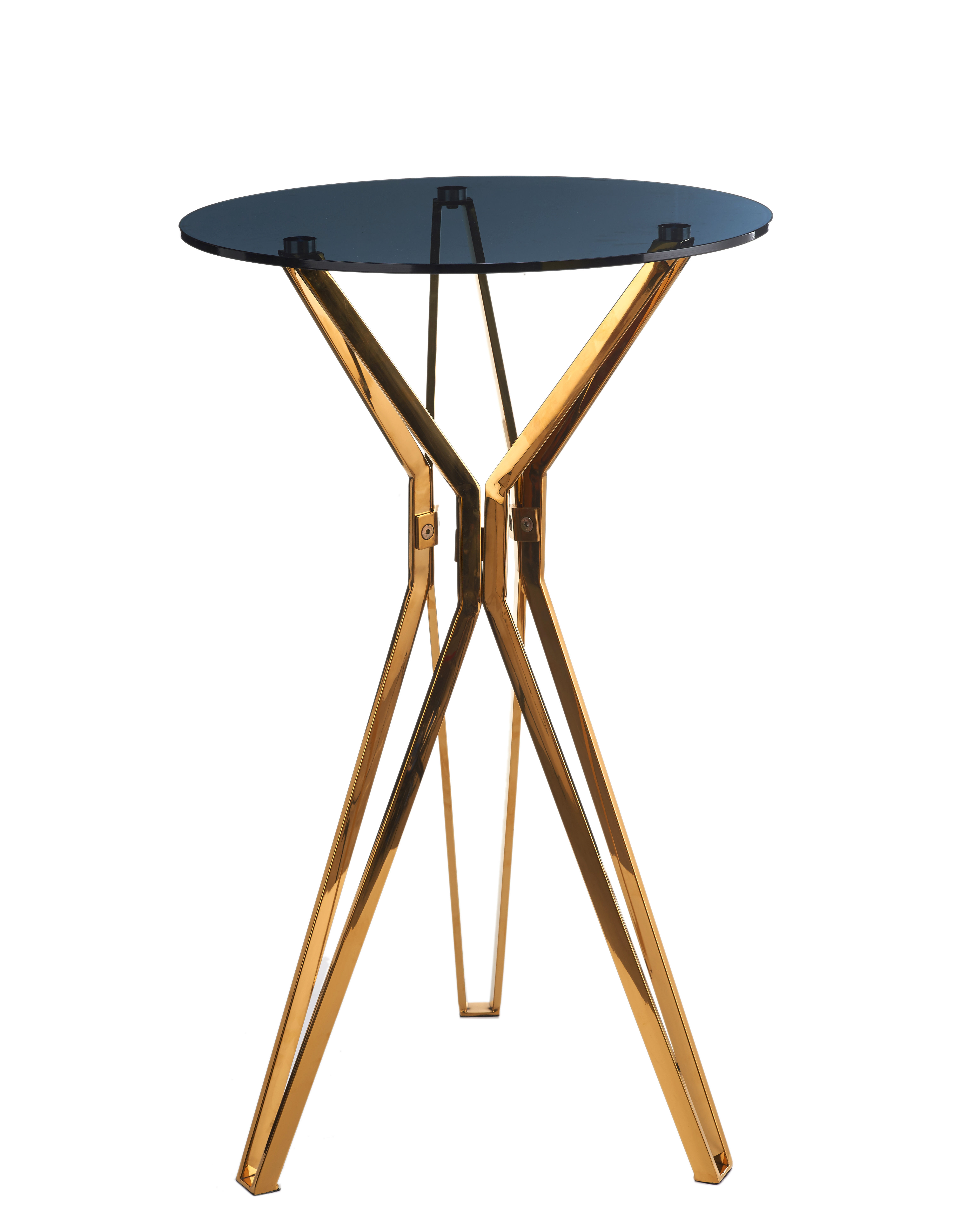 Furniture - High Tables - Gold & glass High table - / Ø 70 x H 100 cm by Pols Potten - Smoked black / Gold - Stainless steel, Verre trempé fumé