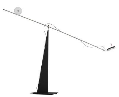 Illuminazione - Lampade da tavolo - Lampada da tavolo Keep Balance LED / L 100 x H 62 cm - Mobile - Ingo Maurer - Nero & acciaio - Metallo, Policarbonato opalina