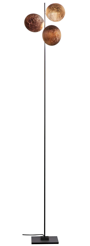 Luminaire - Lampadaires - Lampadaire Lederam F3 / LED - H 198 cm - Catellani & Smith - Disques cuivre / Tige noire / base noire - Aluminium, Feuilles de cuivre, Métal peint